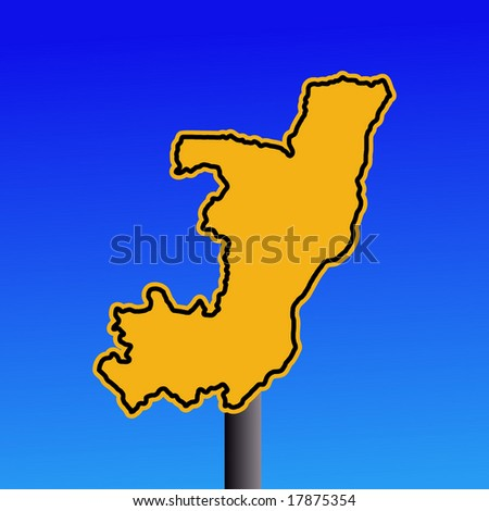 yellow Republic of Congo map warning sign on blue illustration