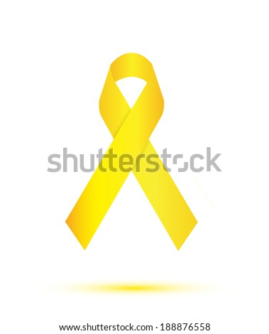 Yellow ribbon on white background - stock vector