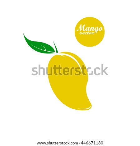 Yellow  ripe mango  in flat style. Mango vector logo. Mango icon. Isolated object