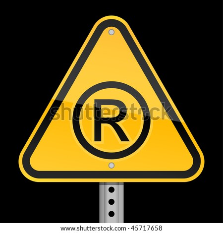 Yellow road hazard warning sign with registered symbol on a black background - stock vector