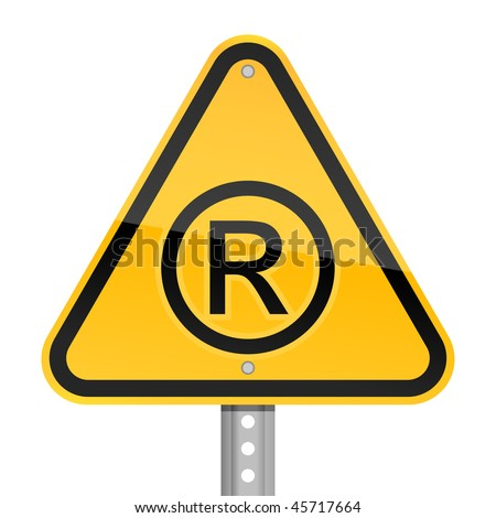 Yellow road hazard warning sign with registered symbol on a white background - stock vector