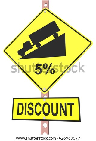 Yellow road sign with 5% discount message and sale alert