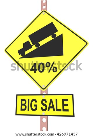 Yellow road sign with 40% discount message and sale alert