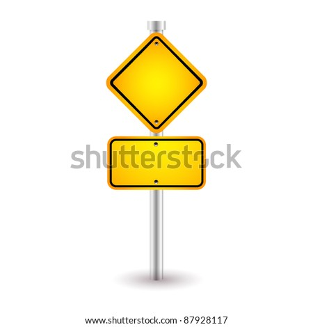 yellow road sign with shadow - stock vector