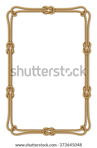 Yellow rope woven vector border with rope knots, vertical vector frame, isolated on white - stock vector