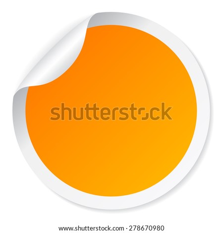 Yellow round sticker - stock vector