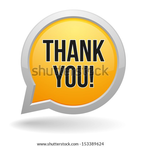 Yellow round thank you speech bubble - stock vector