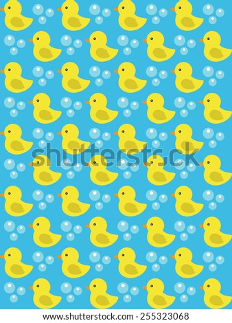 yellow rubber duck seamless pattern. vector illustration - stock vector