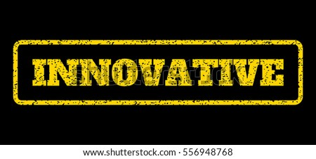 Yellow rubber seal stamp with Innovative text. Vector caption inside rounded rectangular banner. Grunge design and unclean texture for watermark labels. Horisontal sign on a blue background.