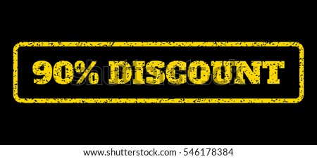 Yellow rubber seal stamp with 90 Percent Discount text. Vector message inside rounded rectangular banner. Grunge design and dust texture for watermark labels. Horisontal sticker on a blue background.