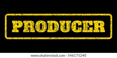 Yellow rubber seal stamp with Producer text. Vector caption inside rounded rectangular shape. Grunge design and scratched texture for watermark labels. Horisontal emblem on a blue background.