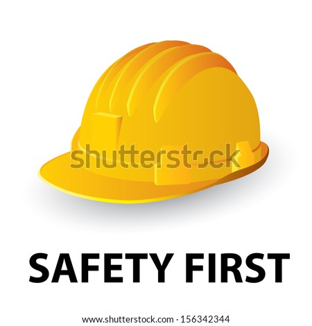 Yellow safety hard hat. Vector illustration - stock vector