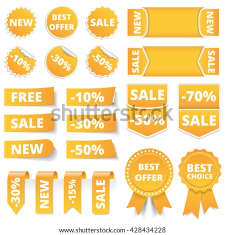 Yellow sale banners, labels, stickers, tags, vector eps10 illustration - stock vector