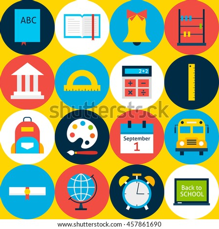 Yellow School Background with Circles. Flat Style Vector Pattern. Education and College.