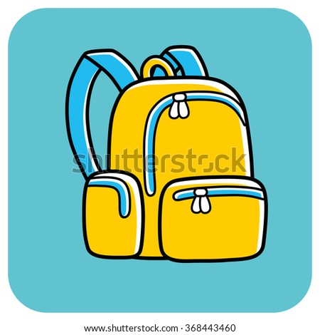 Yellow school bag icon on a blue background.
