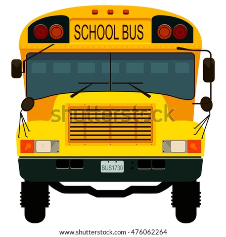 Yellow school bus. Vector illustration.