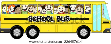 yellow school bus with happy childs isolated on white background - stock vector