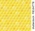 Yellow Seamless Pattern with Honeycombs on White Backdrop. Vector EPS8 Illustration. - stock photo