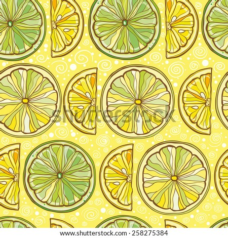 Yellow seamless vector pattern with lemon and lime. Citrus background.  eps 10 - stock vector