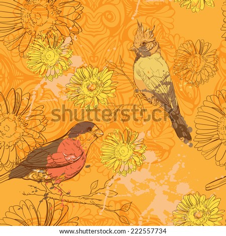 yellow seampless pattern with bords and gerberas - stock vector