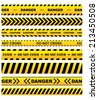 Yellow security warning tapes set with text Caution, Do not cross, Do not enter, Danger. For web, criminal and law design - stock vector