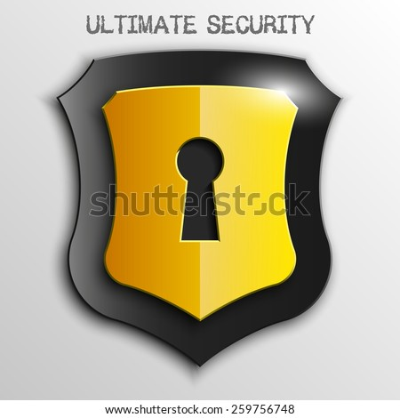 Yellow shield with keyhole isolated on white background. Security vector sign - stock vector