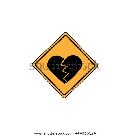 Yellow Sign - heart - stock vector