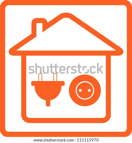 yellow sign wiring with electrical equipment for house - stock vector