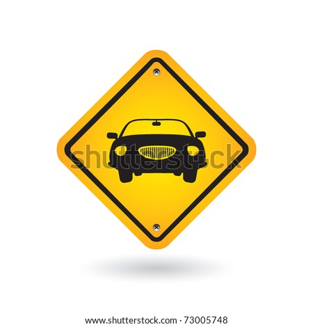 yellow sign with car - stock vector