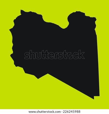 Yellow Silhouette of the Country Libya
