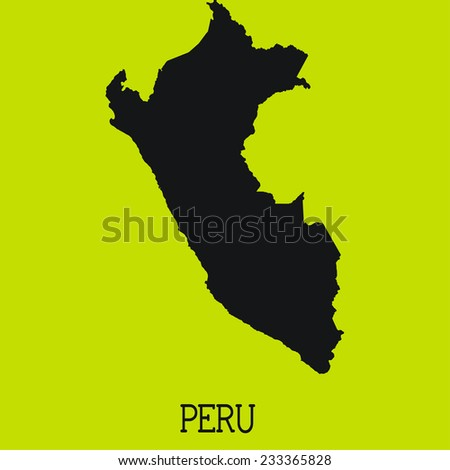 Yellow Silhouette of the Country Peru
