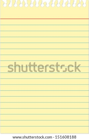 Yellow small notebook paper - stock vector
