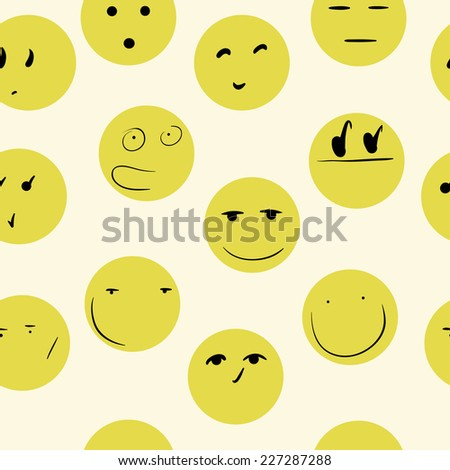 Yellow smilies with looks on a light background - stock vector