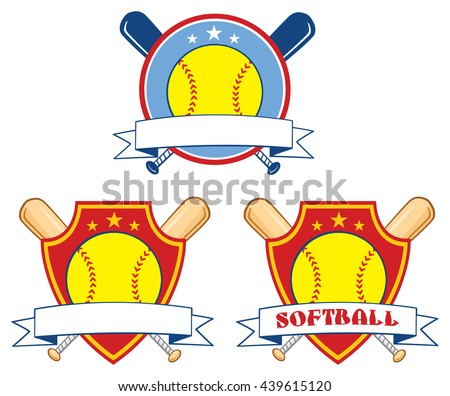Yellow Softball Over Crossed Bats Logo Design Labels. Vector Illustration Isolated On White Background Collection Set - stock vector