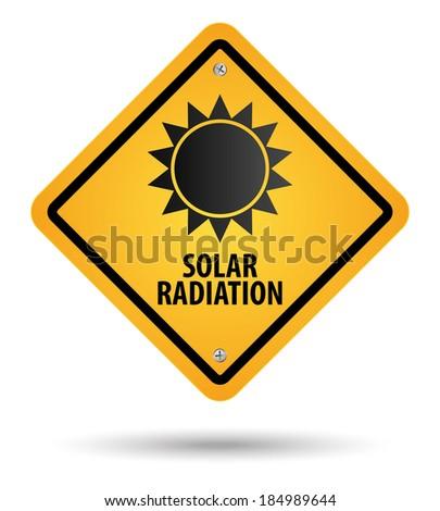 yellow solar radiation sign, danger - stock vector
