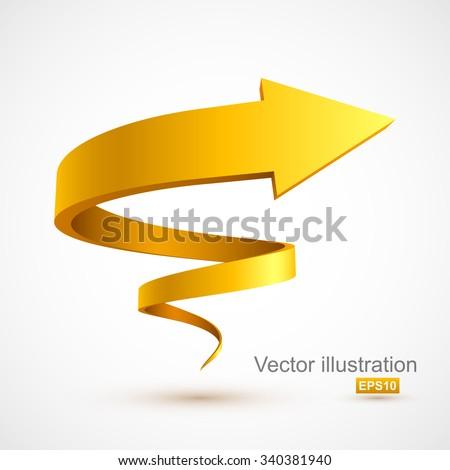 Yellow spiral arrow 3D. - stock vector