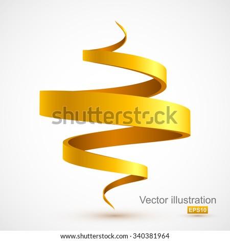 Yellow spiral 3D. - stock vector