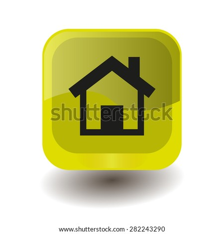 Yellow square button with black houme sign, vector design for website - stock vector