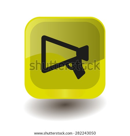 Yellow square button with black mouthpiece (announcing) sign, vector design for website - stock vector