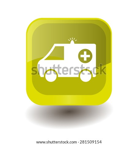 Yellow square button with white ambulance sign, vector design for website  - stock vector