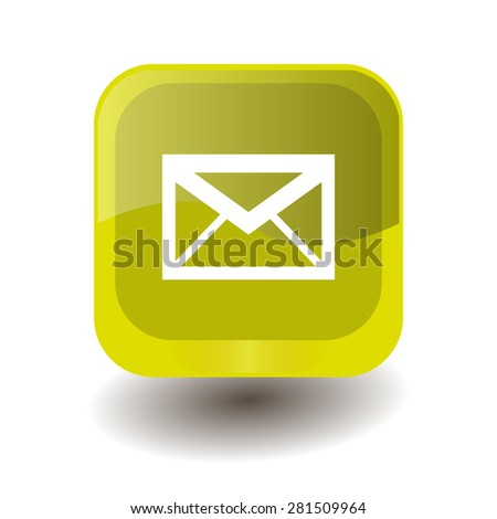 Yellow square button with white envelope sign, vector design for website  - stock vector
