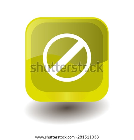 Yellow square button with white restricted sign, vector design for website  - stock vector