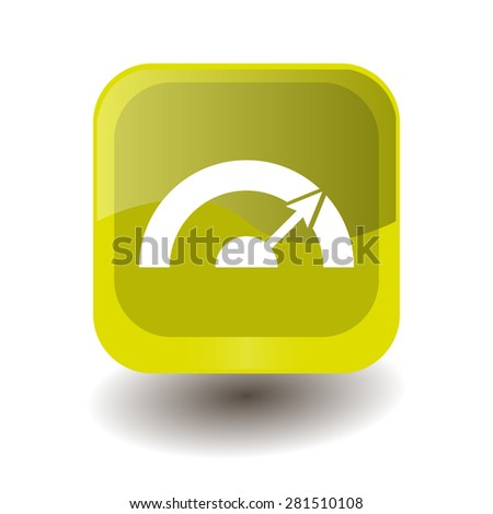 Yellow square button with white  sign, vector design for website  - stock vector