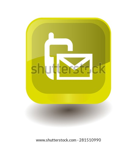 Yellow square button with white sms (mms) sign, vector design for website  - stock vector