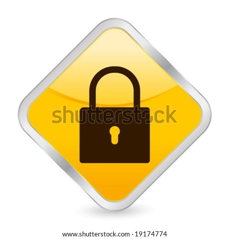 Yellow square icon isolated on a white background. Vector illustration. - stock vector
