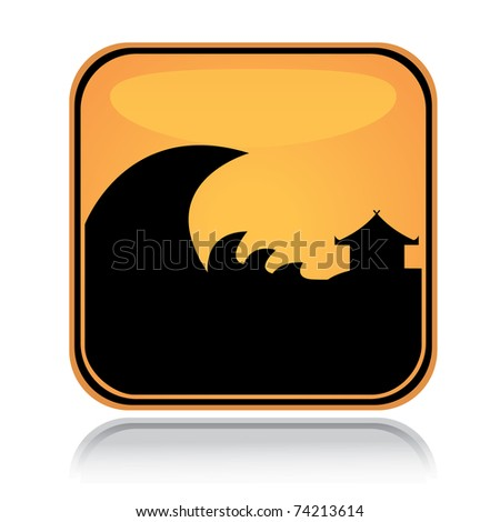 Yellow square icon tsunami hazard with reflection over white background - stock vector