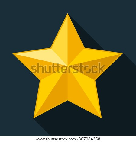Yellow star, gold star on black background