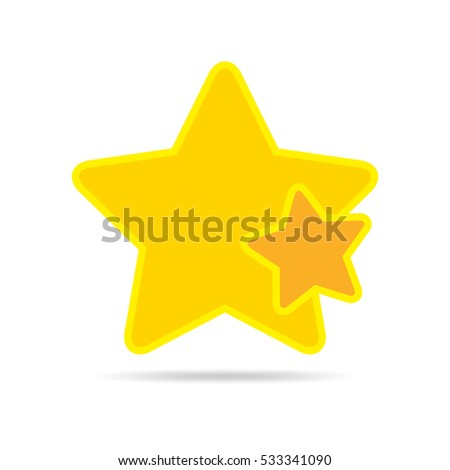 Yellow star icon in flat design. Star on white background. Vector illustration.
