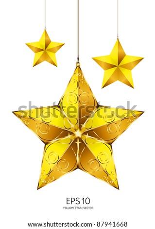 yellow star vector - stock vector