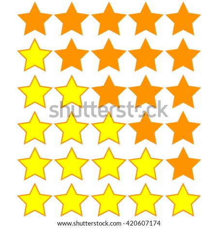 yellow stars of rating on orange stars - stock vector
